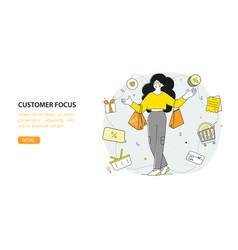 Customer orientation flat landing page template vector