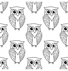 Cute little owl seamless pattern vector image