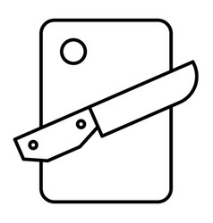 Cutting board and knife thin line icon chopping vector