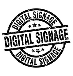 Digital signage round grunge black stamp vector
