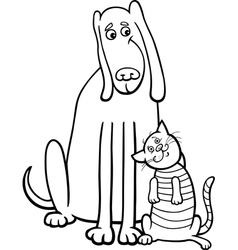 dog and cat cartoon for coloring book vector image