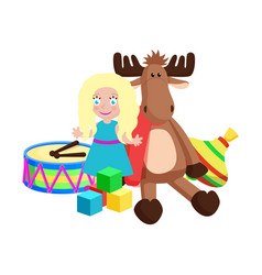 Doll and reindeer christmas toys vector