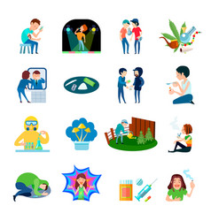drug abuse icons collection vector image