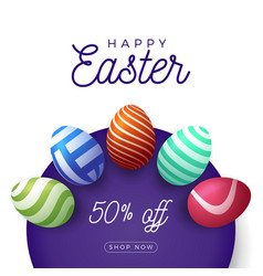 easter egg banner easter card with eggs laid out vector image
