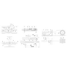 Engineering drawing of industrial equipment vector