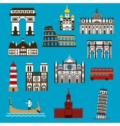 European landmarks and buuildings flat icons vector