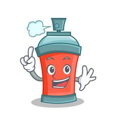 Finger aerosol spray can character cartoon vector