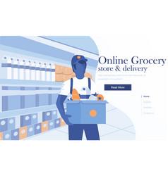 flat modern design online grpcery vector image