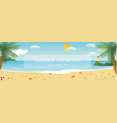flat tropical beach colorful background vector image