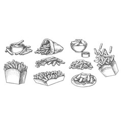 French fries hand drawn sketch isolated on white vector