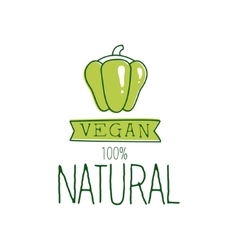 Fresh Vegan Food Promotional Sign With Green Sweet vector