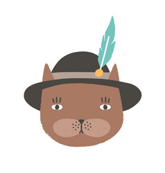 funny face or head cat wearing tyrolean or vector image