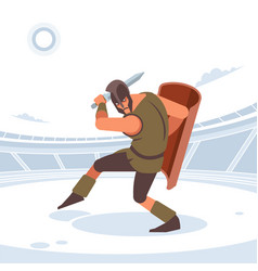 Gladiator with sword and armor isolated vector
