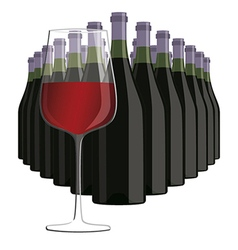 Glass of red wine with bottles of wine isolated in vector