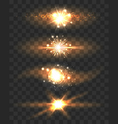 Golden glow light effects stars on transparent vector