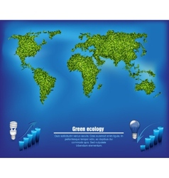 green map out of the grass with the oceans vector image