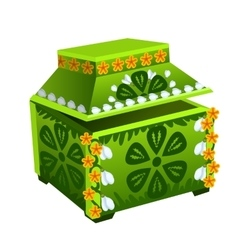 Green treasure chest with floral ornament vector