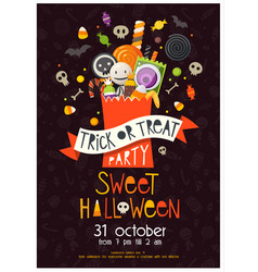 halloween poster with sweets vector image