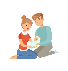 Happy parents embracing their newborn baby happy vector
