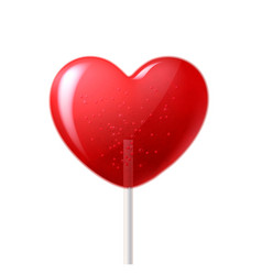 Heart lollipop candy 3d valentine day sweet vector