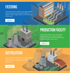 heavy industry air pollution horizontal flyers vector image