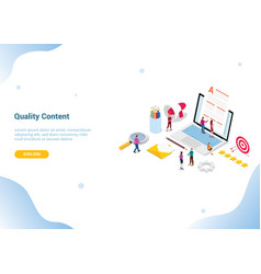 high quality content concept with team people vector image