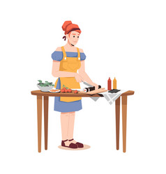 housewife cooking sushi woman in apron at table vector image