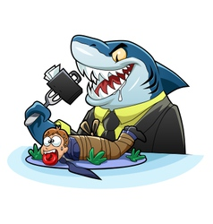 Hungry business shark vector image