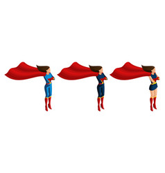 isometry set of superhero girls in suits 3d chara vector image