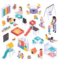kindergarten elements isometric set vector image