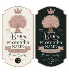 Labels for whiskey with crown and oak tree vector