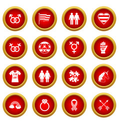 Lgbt icon red circle set vector