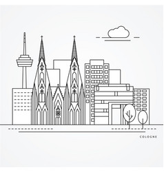 linear cologne germany flat one line style trendy vector image