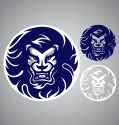 lion head blue logo vector image