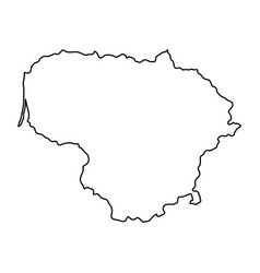 Lithuania map of black contour curves of vector
