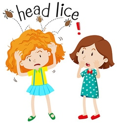 Little girl having head lice vector