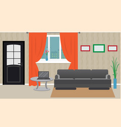 Living room interior including furniture laptop vector