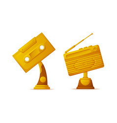 Melody tape and radio gold awards for winners vector