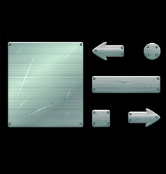 metallic old user interface and game buttons vector image