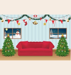 night christmas party room decorated background vector image