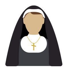 nun cartoon icon isolated vector image