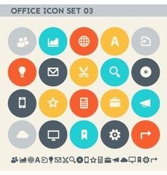 Office 3 icon set multicolored square flat vector