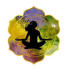 On theme yoga with mandala and vector