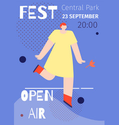 open air music festival poster flat advert design vector image
