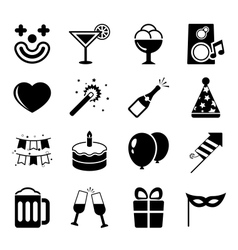 Party icons set contrast flat vector image