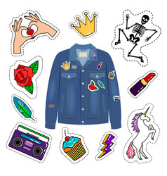 Patches denim jacket vector