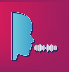 People speaking or singing sign blue 3d vector