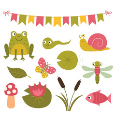 pond cartoon clip art a frog water lily vector image