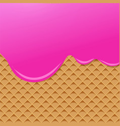 raspberry cream melted on wafer background vector image