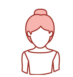 Red contour of half body of faceless female dancer vector